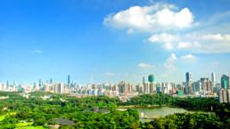 Aerial view of Guangzhou, China.