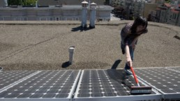 Woman cleaning solar panels.