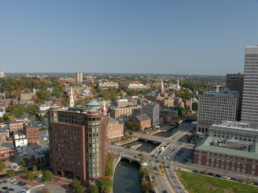 Aerial view of Providence and its retrofitted buildings.