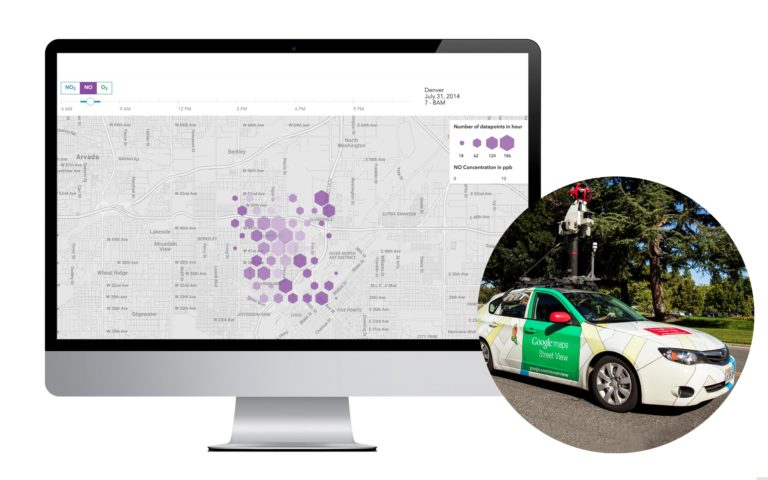 The Aclima interface using Google maps to map air pollution