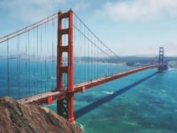 Aerial shot of the Golden Gate bridge.