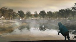 Park and lake in Copenhagen used for climate change benefits designed as resilient architecture.