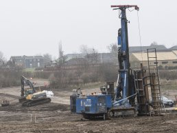 Construction site in Middelfart Kommune, using Earths natural warm to heat up houses.