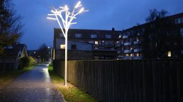 LED street lights not only result in lower power bills, but make people feel safer due to the brightness of the light in Vejle Vestbyens