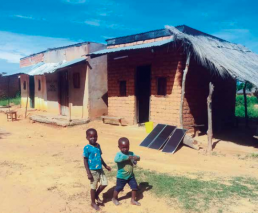 Homes in Zambia installed with solar panels. NTU International.